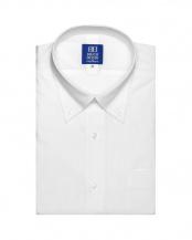 ホワイト系●形態安定 ノーアイロン 半袖ビジネスワイシャツメッシュインナー ボタンダウン 白×ストライプ織柄 新体型○BM019200AB45B3M