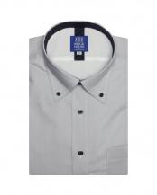 グレー系●形態安定 ノーアイロン 半袖ビジネスワイシャツフィットインナー ボタンダウン グレー×無地調 新体型○BM019201AB45B3F