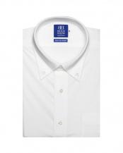 ホワイト系●形態安定 ノーアイロン 半袖ビジネスワイシャツビズポロ ニットシャツ ボタンダウン 白×無地調 新体型○BM019201AB45B3N