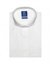 ホワイト系●形態安定 ノーアイロン 半袖ビジネスワイシャツホリゾンタル ワイド  綿100% 白×斜めストライプ織柄 新体型○BM019202AA45Z4A