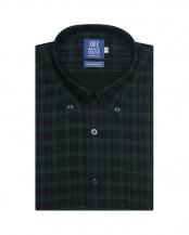 ブルー系●形態安定 ノーアイロン 半袖ビジネスワイシャツWガーゼ ボタンダウン 綿100% ネイビー×グリーンチェック 新体型○BM019205AC45B4G