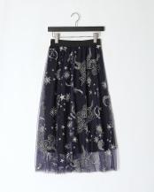 ネイビー●オリジナル刺繍 チュールスカート○102020