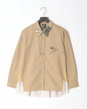 ブラウン●花×蝶 刺繍襟 チュール切替シャツ○501030