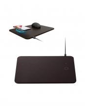 ブラウン●「マウスパット」 ワイヤレス充電機能付き/置くだけ充電/5W/ソフトレザー○MP-WQ01BR