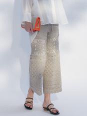 ミントグリーン●かぎ針使い透かしニットパンツ MERCURYDUO○002020700601