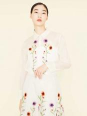 ホワイト●シルクオーガンジーフラワー刺繍ブラウス Sybilla ○GBBBJ20390