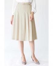 ベージュ●ベルト付グログランスカート NATURAL BEAUTY○0180120105