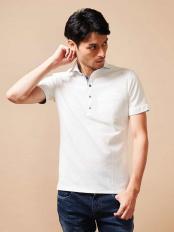 ホワイト●ポロシャツ(エアリーストライプ) MICHEL KLEIN HOMME○MNKGJ33130