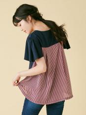 ネイビー●バックフレアTシャツ dazzlin○021942700201
