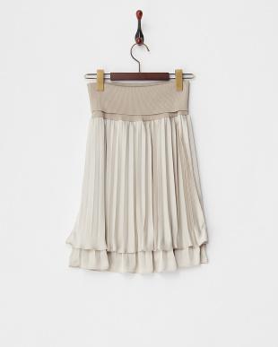 ベージュ チリメンサテン リブ付きプリーツスカートを見る