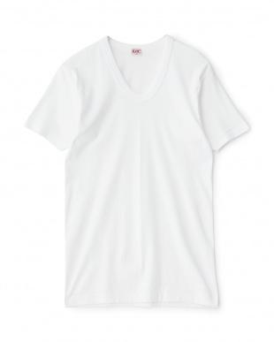 ホワイト GOLD 綿100% U首半袖Tシャツ2枚組を見る