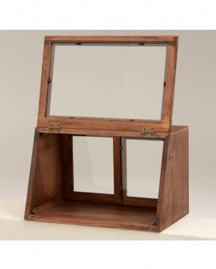 ブラウン カウンター上ガラスケース 40×25×25cmを見る