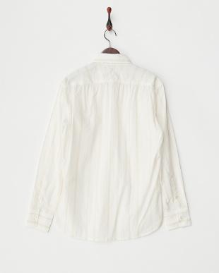 ベージュ 綿ラミーストライプシャツ見る