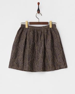 NAVY ペイズリー柄刺繍スカート見る