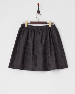 019 ブラック 幾何学柄ラメジャガードギャザースカートを見る