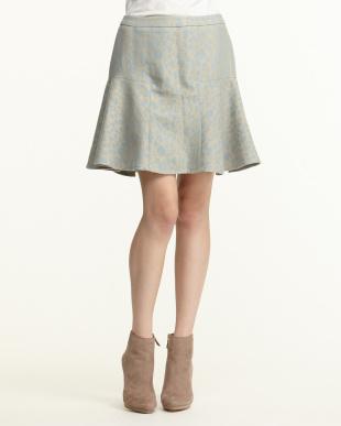 サックス系 ラメレオパードフレアスカートを見る