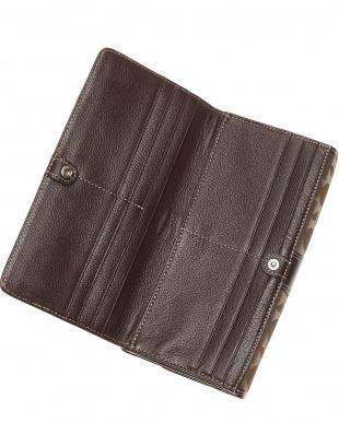 ダークブラウン ジャガード織り長財布を見る