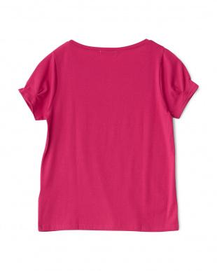 074 ピンク ビジュー装飾 袖タック入りカットソーを見る