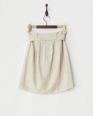 ベージュ オーキッドカルゼウエストリボンコクーンスカート見る