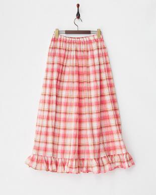ピンク カラーチェック ロングティアードスカートを見る