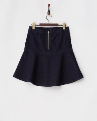 ブル- ネイビー デニムフレアスカートを見る