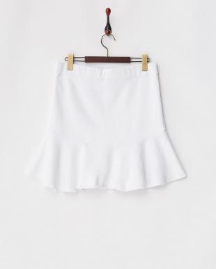 ホワイト 裏毛 裾切り替えスカートを見る