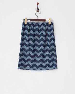 ブルー ジグザグボーダー 二重織りデニムスカートを見る