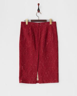 1950 ワイン スワロフスキー装飾コットン混レースタイトスカートを見る