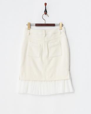 ホワイト 裾チュール切り替えタイトスカートを見る