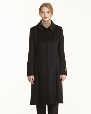 BK ブラック カシミヤフォックス衿付き共ベルトコート見る