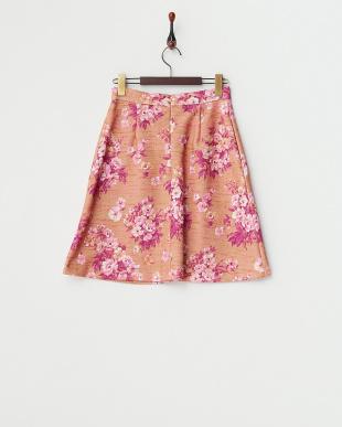 ピンク フラワープリントスカート見る