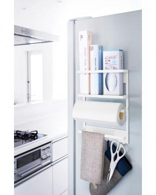 ホワイト マグネット冷蔵庫サイドラック プレートを見る