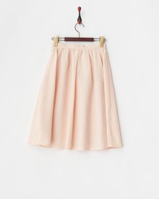 ピンク シアーチェックフレアスカート見る