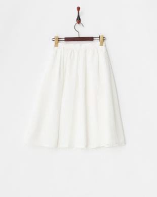 ホワイト シアーチェックフレアスカート見る
