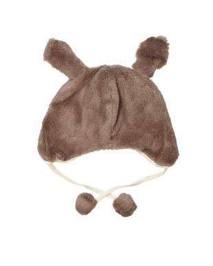ココア オーガニックファーうさ耳帽子見る