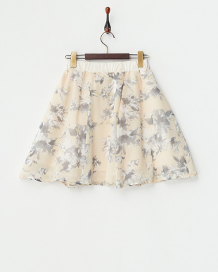 オレンジ 花柄シフォンフレアスカートを見る