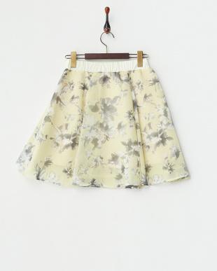 イエロー 花柄シフォンフレアスカートを見る