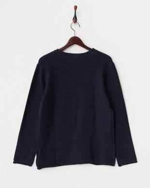 ネイビー メランジニット クルーネックセーターを見る