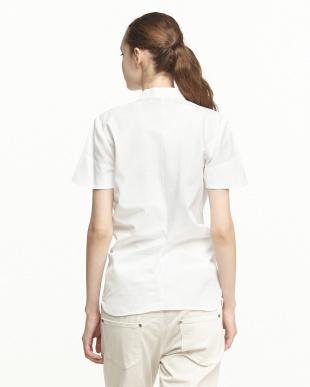 blanc blancフロントリボン結び比翼シャツを見る