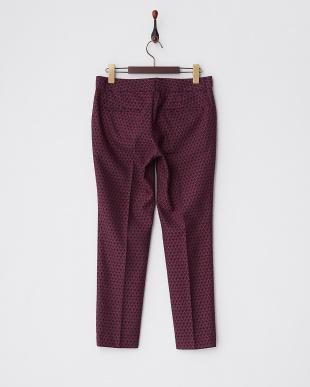 ピンク 小紋柄ジャカード8分丈パンツ見る