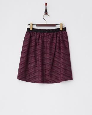 ピンク ビット使い小紋柄ジャカードスカート見る