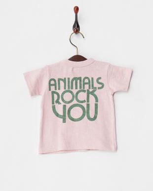 ピンク シルクネップ天竺 ANIMALS BABY TEEを見る