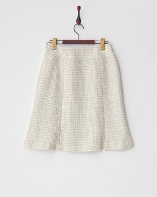 ベージュ ラメツイードスカート見る