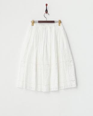 ホワイト 綿ローン刺繍スカートを見る
