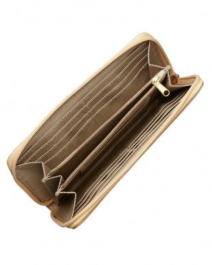 ベージュ ラウンドジップ長財布を見る