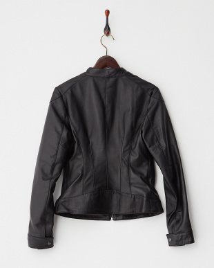 ブラック ラムレザースタンドジャケットを見る