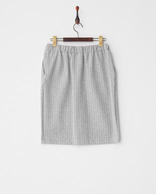 グレー ストライプドロストタイトスカートを見る