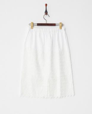 ホワイト 刺繍コットンスカートを見る