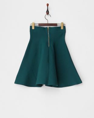 ダークグリーン ナイロンリブニットスカート見る