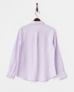 パープル フレンチリネン2WAYボタンシャツを見る